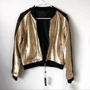 NWT BlankNYC Sequin Stripe Bomber Gold Black